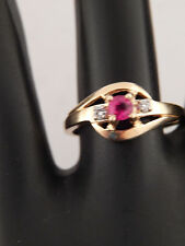 Designer Top Grade Ruby & Diamond Engagement Ring  .19 tcw G/SI 14k Yellow Gold