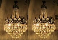 Pair of Antique Vnt French Basket Style Crystal Chandelier Lamp 1940's 16in Dtmr