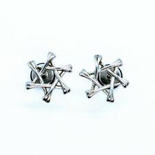 2PCs Fashion Six-pointed Star David Hexagram Ear Stud Earrings Stainless Steel