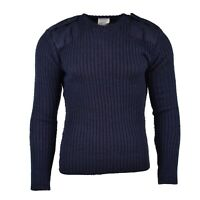 Original British Army Navy pullover Commando Jumper Blue sweater V-neck Wool