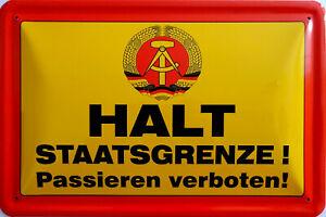 Blechschild Schild 20x30 cm - Halt Staatsgrenze passieren verboten DDR Grenze