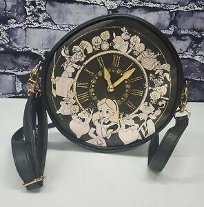 Disney Loungefly Alice in Wonderland Black & Gold Clock Bag Crossbody Purse