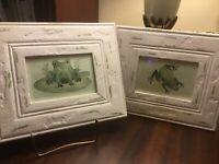 "Original-""Green Frog Art""-Pair Of Watercolors-Framed-MSRP $60-FREE SHIPPING!"