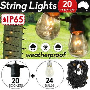 20+4Pcs Bulbs 20M String Lights Festoon Wedding Party Home Fairy Outdoor Patio