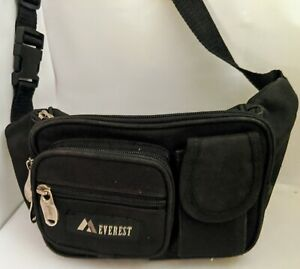 Men's Everest black fanny pack with 5 pockets 4 with zippers EUC SS
