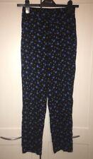 Rrp £28 Size 6 Petite Miss Selfridge Patterned Trousers Blue Black