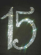 NEW Larger Rhinestone Quinceañera Number 15 Birthday Anniversary Cake Topper