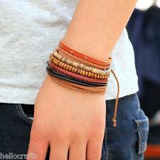 HC 4PCs/Set Retro Unisex Multilayer Wooden Beads Leather Bracelet Cuff Bangle