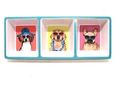 Dogs in Sunglasses Divided Condiment Tray 3 Section Serving Dish Melamine Summer