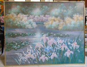 LEE  REYNOLDS, WATER GARDEN, 60's ORIGINAL PAINTING, SIGNED