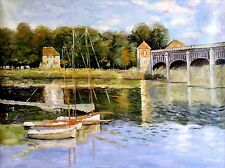 Stretched, Monet Bridge at Argenteuil Repro Hand Painted Oil Painting 36x48in