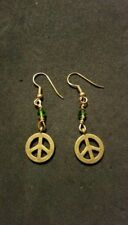Peace sign charm earrings, solid brass, gold plated brass hook/4mm Green Crystal