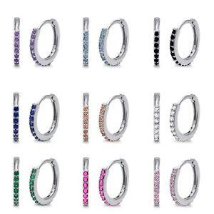 Simulated Brilliant Round Diamond Sterling Silver Huggie / Hoop Earrings