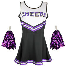Cheerleader Fancy Dress Outfit Uniform High School Musical Costume Pom Poms