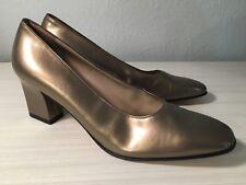 Salvator Ferragamo Heels Size 9.5 AAA 3A Narrow Bronze Metallic Women Italy