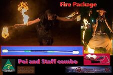 Awesome Fire twirling Package deal. Staff and Poi. Black grip Yellow highlights