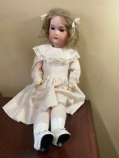 "Vintage German Cm Bergmann ll Doll Blonde Curls Blue Eyes 24"" Bisque Bows Pink"