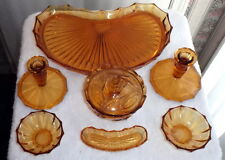 ANTIQUE 7 Piece Amber Glass Dresser Set