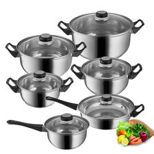 12pc Stainless Steel Cookware Set Fry Pots Pans Saucepan Casserole Cooking
