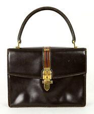 GUCCI Vintage Dark Brown Leather Enamel Buckle Top Handle Satchel Bag