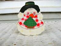 "Hand Painted Snowman,Wood,Stands Upright, Vintage,  4 3/4"" x 4 1/2"" Winter Decor"