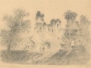 Catherine Board - Early 19th Century Graphite Drawing, The Grave Diggers