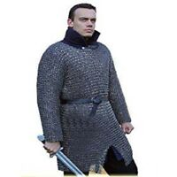 BLACK BUTTED CHAIN MAIL SHIRT EXTRA LARGE SIZE FULL SLEEVE MEDIEVAL MILD STEEL