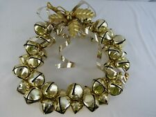 "Vintage Christmas Jingle Bell Wreath Large 17"" Brass Metal Bells & Holly"