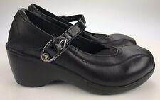 Crocs Mary Jane Ginger Dress Black Comfort Leather Wedge Heel Pumps Womens US 6