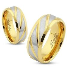 Mens Womens Stainless Steel Diagonal Striped Gold Ip Ring