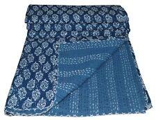 Indian Queen Kantha Quilt Blanket Bedding Bedspread Throw Hippie Indigo Handmade