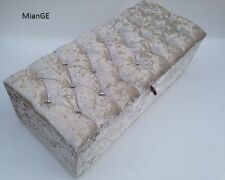 Large Silver Crushed Velvet Daimonte, Daimond, Ottoman, Storage, Blanket Box