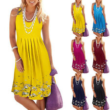 Women Sleeveless Tank Tops Mini Dress Boho Floral Summer Holiday Casual Sundress