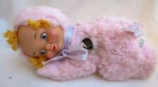 """Vintage 11"""" Pink Baby Doll a GUND MUSICAL TOY Swiss Made Musical Work HEAD MOVES"""