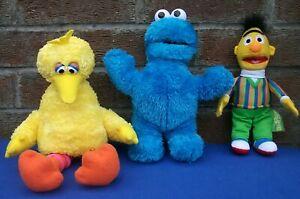 "Sesame Street Cookie Monster&Big Bird&Ernie 3 Soft Toys 12""long VGC"