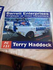 Signed Terry Haddock Barrett Enterprises Union Carpenders NHRA Photo Card N235