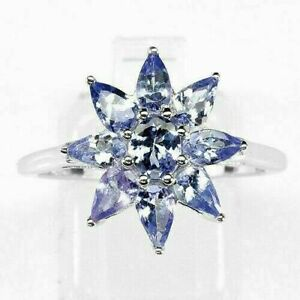 Ring Blue Tanzanite Genuine Natural Gems Solid Sterling Silver Size R  US 8.75