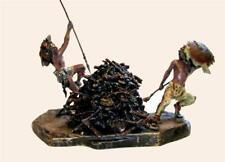 Large Original Antique Franz Bergmann Lamp - Native American War Dance