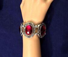 Beautiful Silver Ruby Red Rhinestone Bracelet
