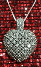 STERLING SILVER 1 CT DIAMOND HEART  COCKTAIL CLUSTER PAVED WEDDING NECKLACE SET