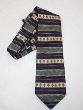Blue, gold and green polyester Debenhams tie with horizontal stripes