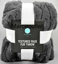 "Martha Stewart Collection Textured Faux Fur 50"" X 60"" Throw Gray"