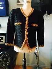 Bluemarine Ladies Tweed Blazer With Gold Beaded Piping Size 42