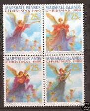 MARSHALL ISLANDS # 344a MNH CHRISTMAS, ANGELS MUSICAL HORN HARP (Block of 4)