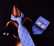 Blue Classic Tie with Red Fleur-De-Lis Designer Bundle With Matched Cufflink