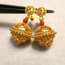 Handmade Granulation 18K Solid Yellow Gold Sardinia Red Coral Earrings