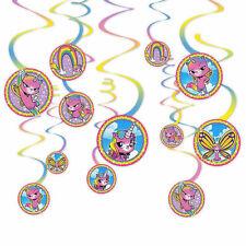 Rainbow Butterfly Unicorn Kitty Swirl Decorations 12ct