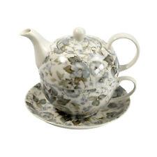 Tea For One Teapot Cup & Saucer Embellish Blue Grey Floral Flower Gift Set NEW