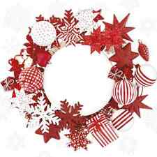 Christmas 20 Paper Lunch Napkins NORDIC WREATH Nordic Style Winter Snow Red