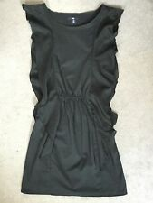 GAP - BLACK SLEEVELESS DRESS WITH SILK RUFFLE DOWN BOTH SIDES - SIZE UK 4